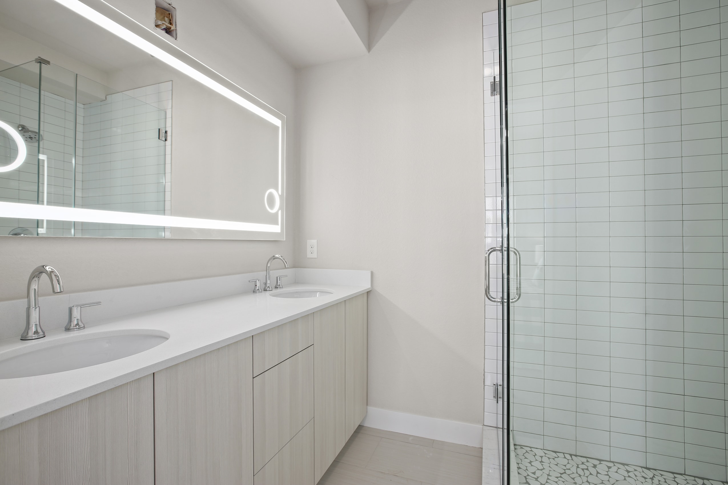 sustainable design build denver colorado west colfax 1265 xavier bathroom dual vanity custom mirror master bathroom