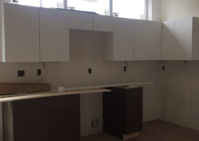 sustainable design build denver colorado west colfax 1220 perry during construction hardwood bamboo floor custom cabinet