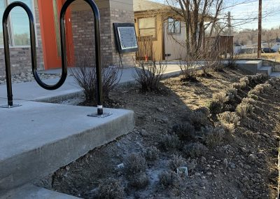 sustainable design build denver colorado west colfax 1220 perry during construction bike rack landscaping concrete