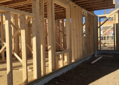 sustainable design build denver colorado west colfax during construction 1365 zenobia wall framing cantilever