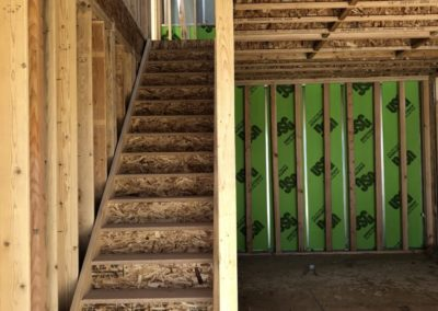 sustainable design build denver colorado west colfax 1365 zenobia during construction framing firewall staircase