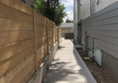 sustainable design build denver colorado west colfax 1254 perry cedar fence sidewalk