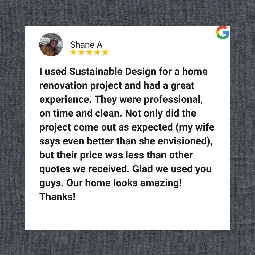 Sustainable Design Build Review google reviews contractor 5-star rating denver colorado basement remodel renovations additions builder design build