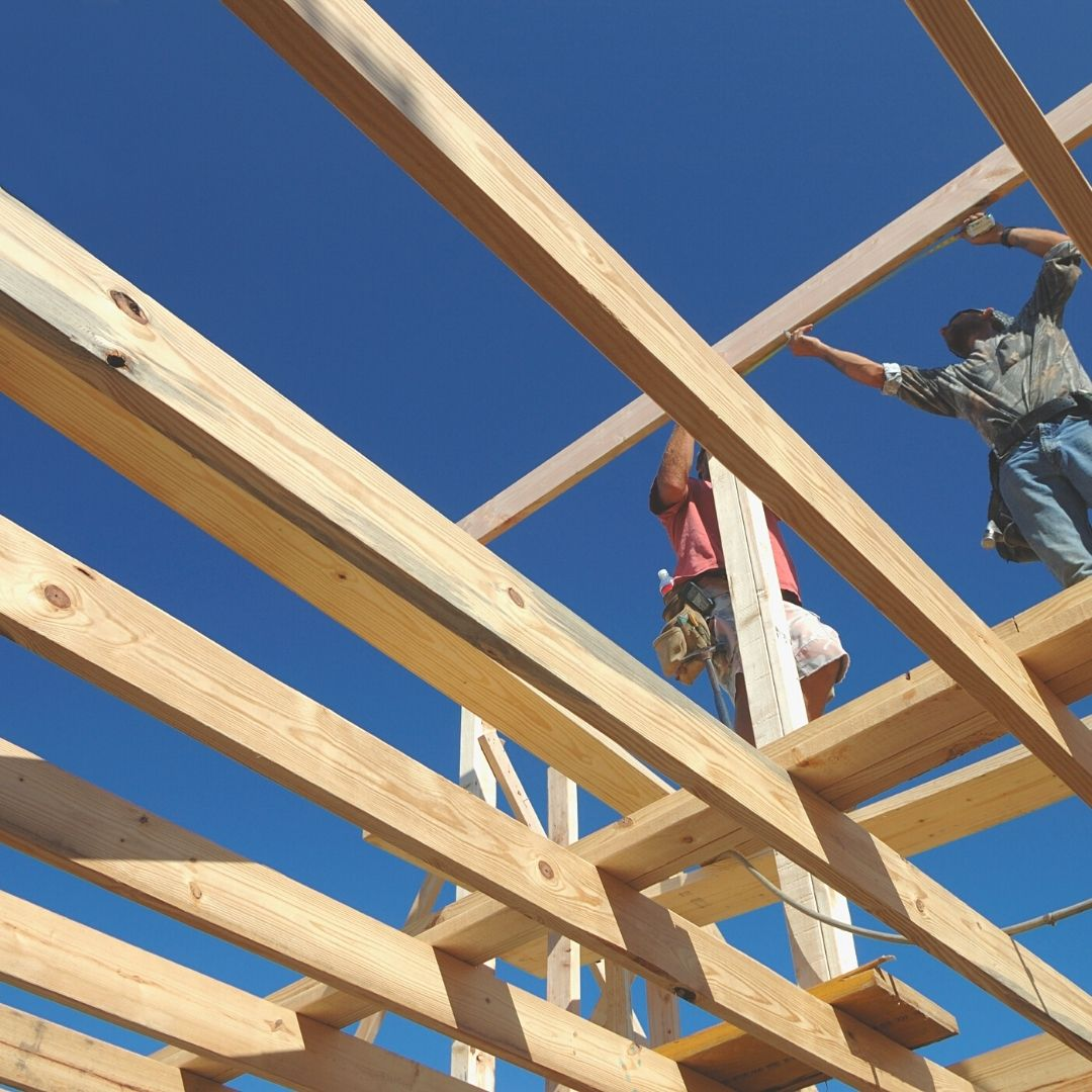 framing wood lumber joists construction roof upper level