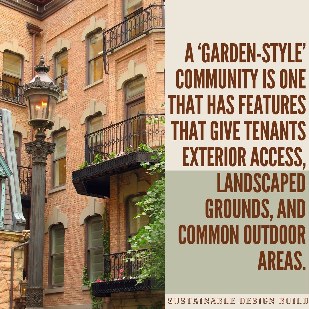 julliet walkways wrought iron brick building apartment multi-family development courtyard