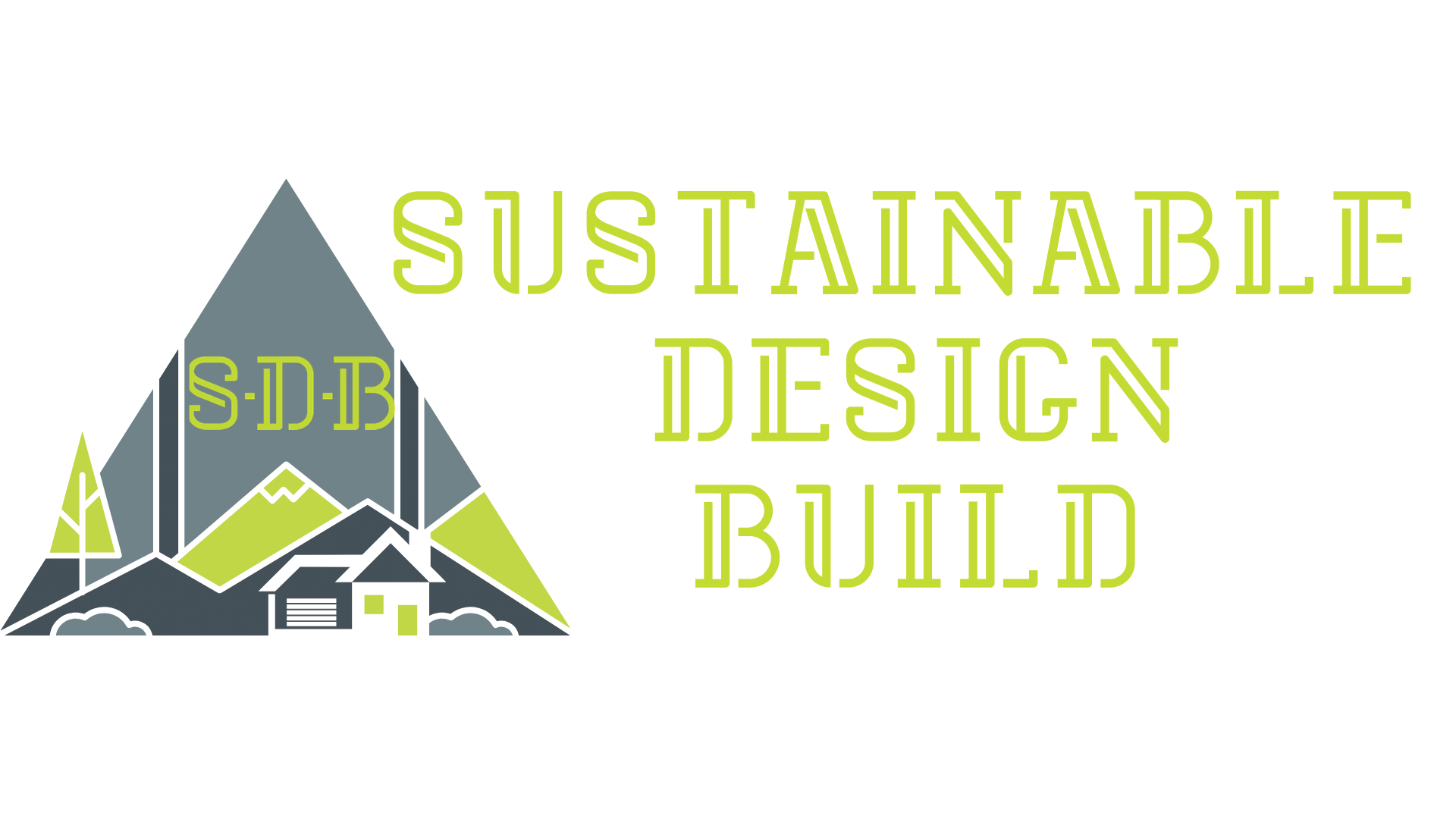 Sustainable Design Build Logo trees mountain sustainable denver house home construction