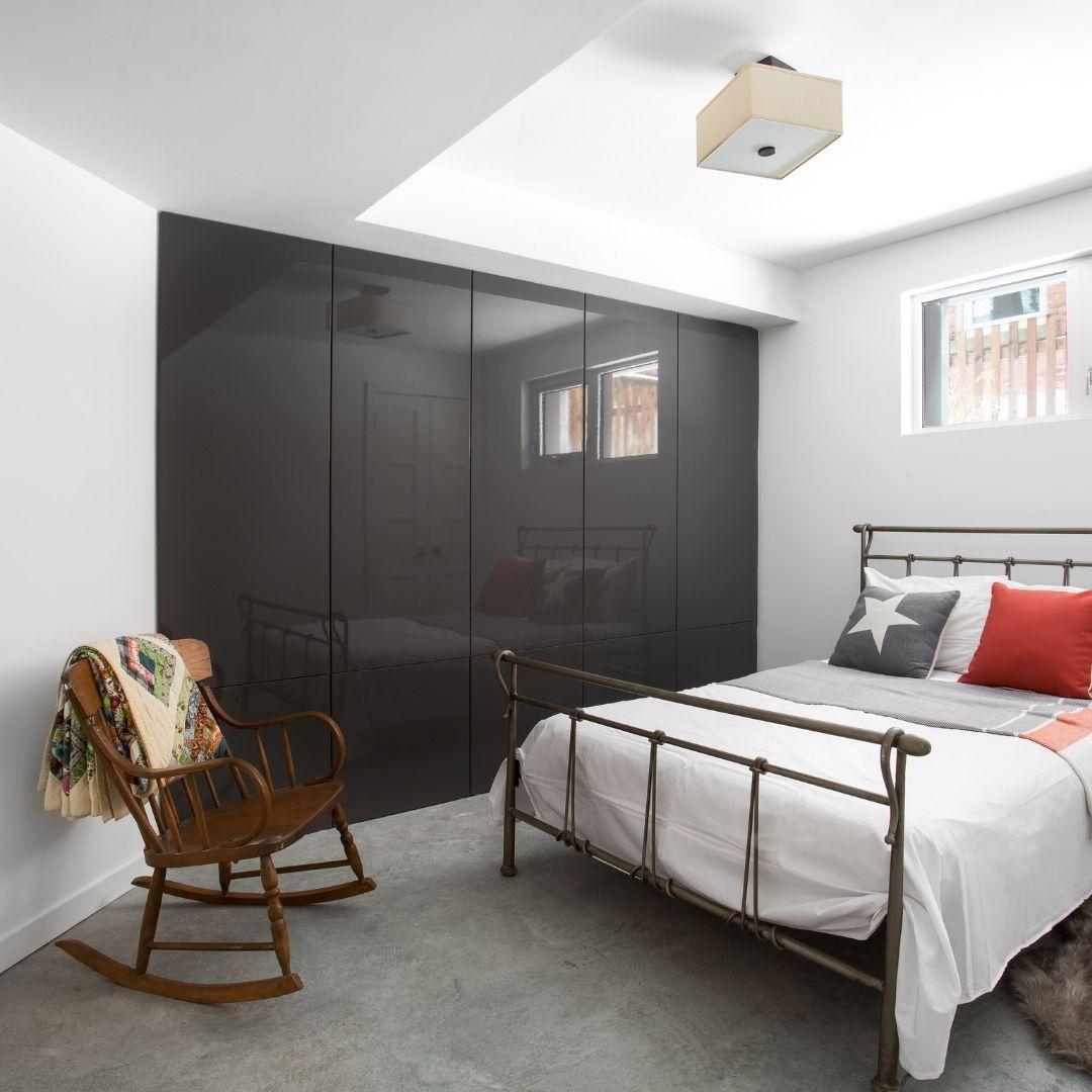 ADU Basement Remodeling Denver Sustainable Design Build Guest bed